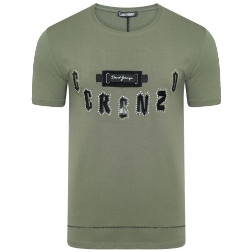 Mens DG Italian Funky Diamond T Shirt Long Fitted Crew Neck Khaki